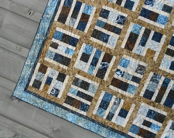 Quilt Pattern  - Driftwood - Layer Cake - Tonga Treat - Crib to King Sizes - EASY Masculine