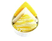 Knit Dish Cloths Yellow Sunshine Kitchen Cleaning