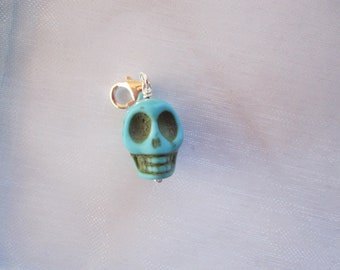 Blue Goth SKULL man-made turquoise sterling silver clip on charm bead, fits link bracelet