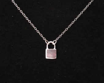 925 Sterling Silver LOCK PADLOCK charm floating necklace, minimalistic necklace/jewelry