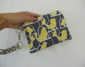 Swinging Birds small zipper accessory/makeup/gadget/ wristlet purse-Gray Citron