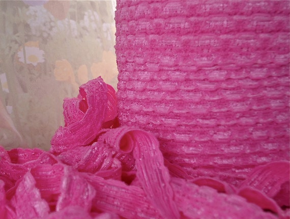 5yds Elastic Lace Baby Headbands 1/2 inch - 12mm - Pink Elastic Stretch Lace Trim
