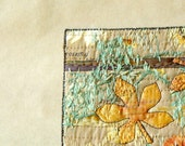 Gold Leaf, Art Card, Autumn Golds, Embroidered Quilted
