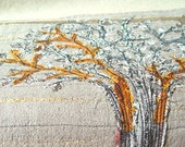 Golden Tree, Art Quilt, Interiors Decoration, Fiberart in Silk