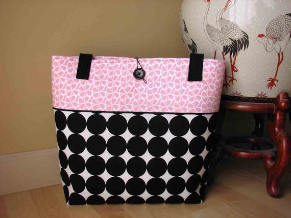 Large Pink and Black Tote Bag with Polka Dots
