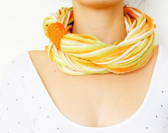 Orange Green Infinity Scarf Womens Scarf, Mens Scarf Eternity Scarf, Circle Scarf, Loop Scarf, Scarf Noodle Scarves Fashion Accessories