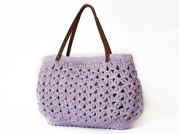 Lilac summer shoulder bag- hand bag With Genuine Leather Straps / Handles