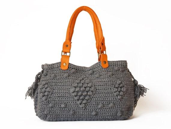 Sale- bag-grey Handbag Celebrity Style With Genuine Leather Straps / Handles shoulder bag-crocheted bag-hand made