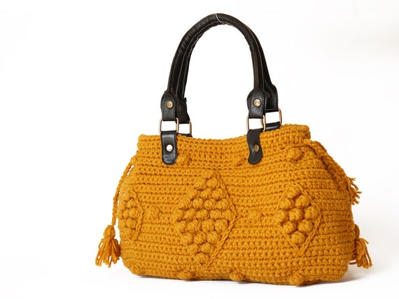 Crocheted Mustard Handbag - Celebrity Style With Genuine Leather Straps / Handles-crochet bag-shoulder bag-hand made