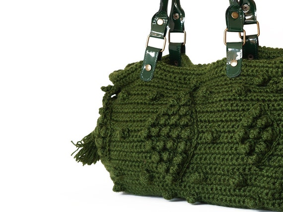 Dark Green Crocheted Handbag