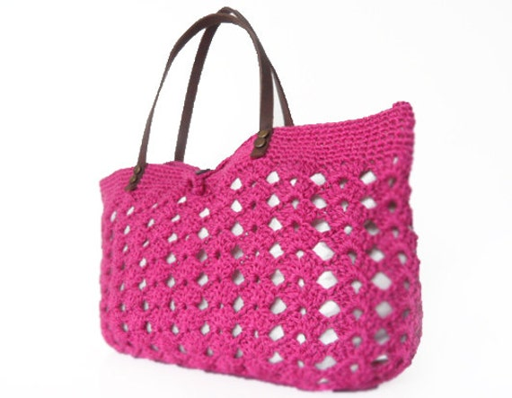 Fuchsia summer bag - Handbag Celebrity Style With Genuine Leather Straps / Handles shoulder bag-crochet bag-hand made