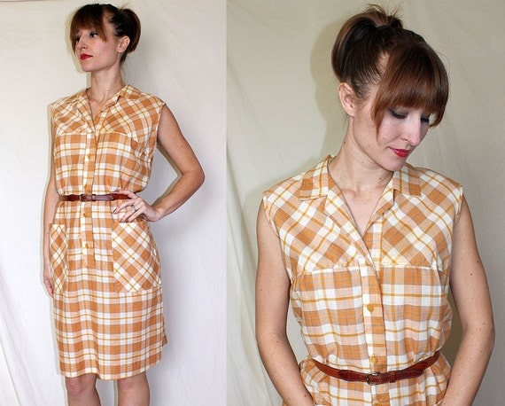 vtg 60s mod PLAID DRESS // sleeveless orange & white cotton shift // L c328