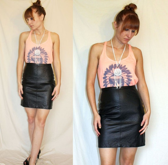 Vintage 80's Black Leather MINI SKIRT High Waist BODYCON
