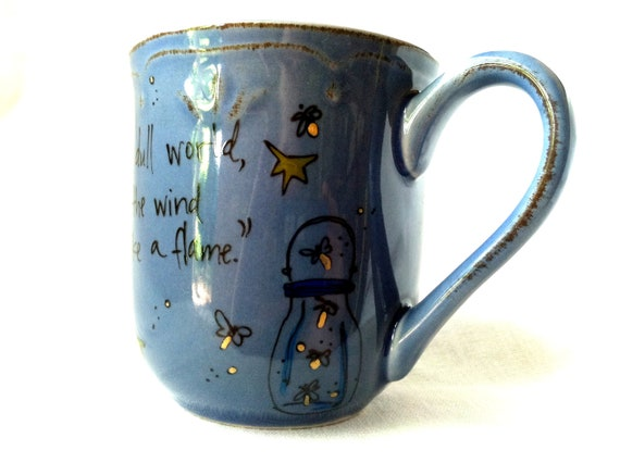 """W.B. Yeats """"Come fairies"""" Literary Quote Mug - Rustic Cornflower Blue with flowers - Hand Painted"""