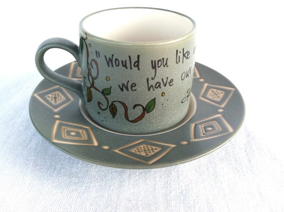 "J.M. Barrie ""Would you like an adventure now"" Peter Pan Literary Quote Mug - Stoneware sea green teacup and saucer"