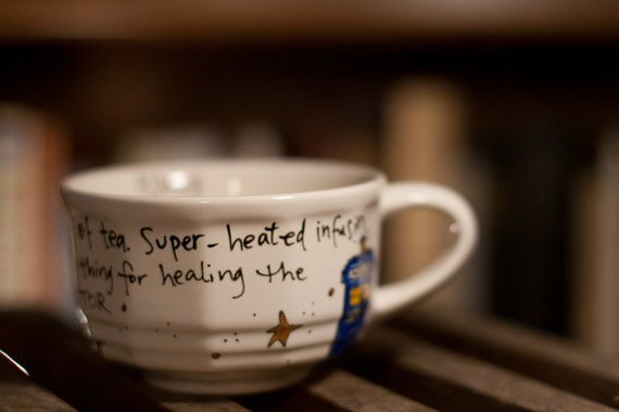 """Doctor Who """"Tea... That's all I needed"""" - Small, white teacup mug with TARDIS and sonic screwdriver"""
