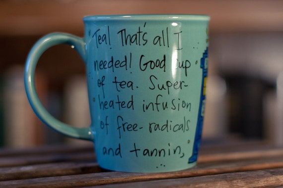 "Doctor Who ""Good cup of tea"" Tenth Doctor hand painted quote mug with TARDIS - Large turquoise mug"
