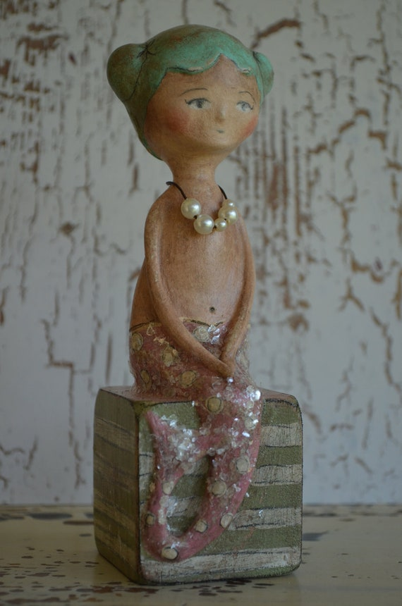 Folk Art Sitting Mermaid OOAK Paperclay