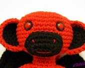 Red / Black Evil Winged Sock Monkey Amigurumi Plush