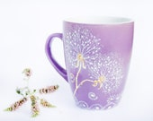 Coffee Mug Purple dandelion Mug -  hand painted Cup
