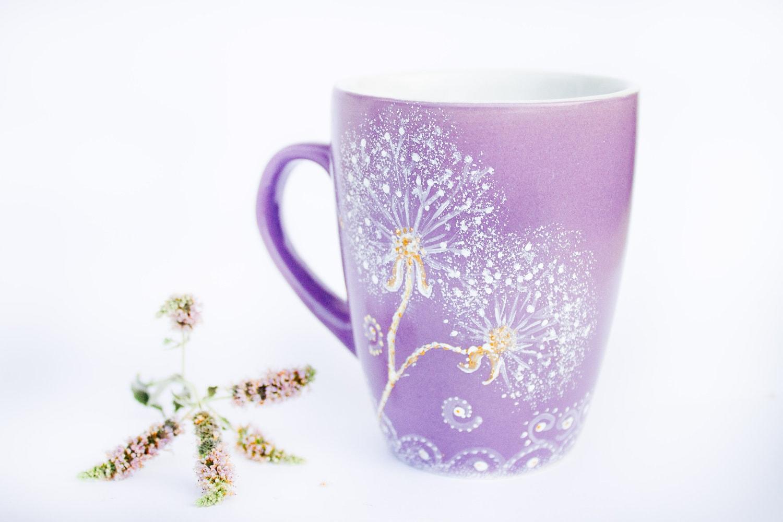 Coffee mug purple dandelion mug hand painted cup for How to paint a mug