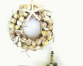 Nautical Shell Wreath White Grey Holiday Decor Beach Cottage