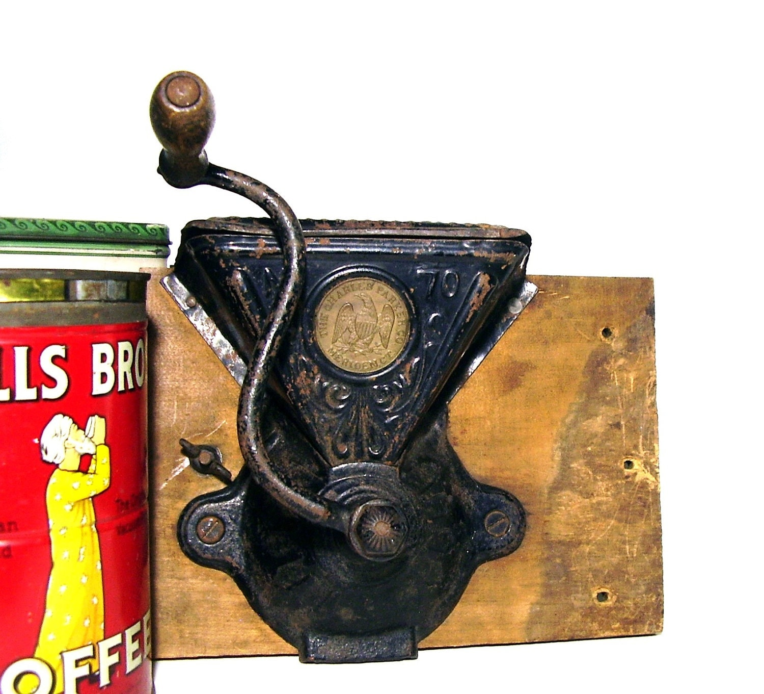 Coffee Grinder Of 1920 ~ Antique coffee grinder s cast iron charles parker co
