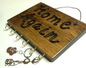 KEYS 6 hooks Wood Sign Decor Distressed Pine Rustic Country Primitive