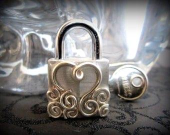 Embellished mini lock,working lock,lock and key, lock with  swirls and a heart