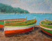 Rowboats on Land, 8x10 original oil by Anthony Soskich