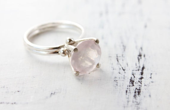 Rose quartz ring, sterling silver, gemstone, cocktail ring, pink, pastel, rose smoke - The Bliss Ring