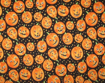 "Trick or Treat Pumpkins on Black Halloween fabric by Alexander Henry 35"" x 42"""
