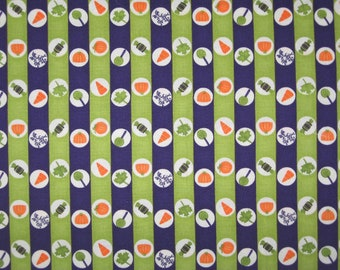 Chic or Treat by Moda Halloween green purple stripe fabric 1 yard 23""