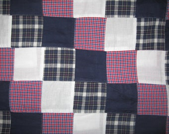 Patriotic red white blue plaid patchwork fabric 1 yard