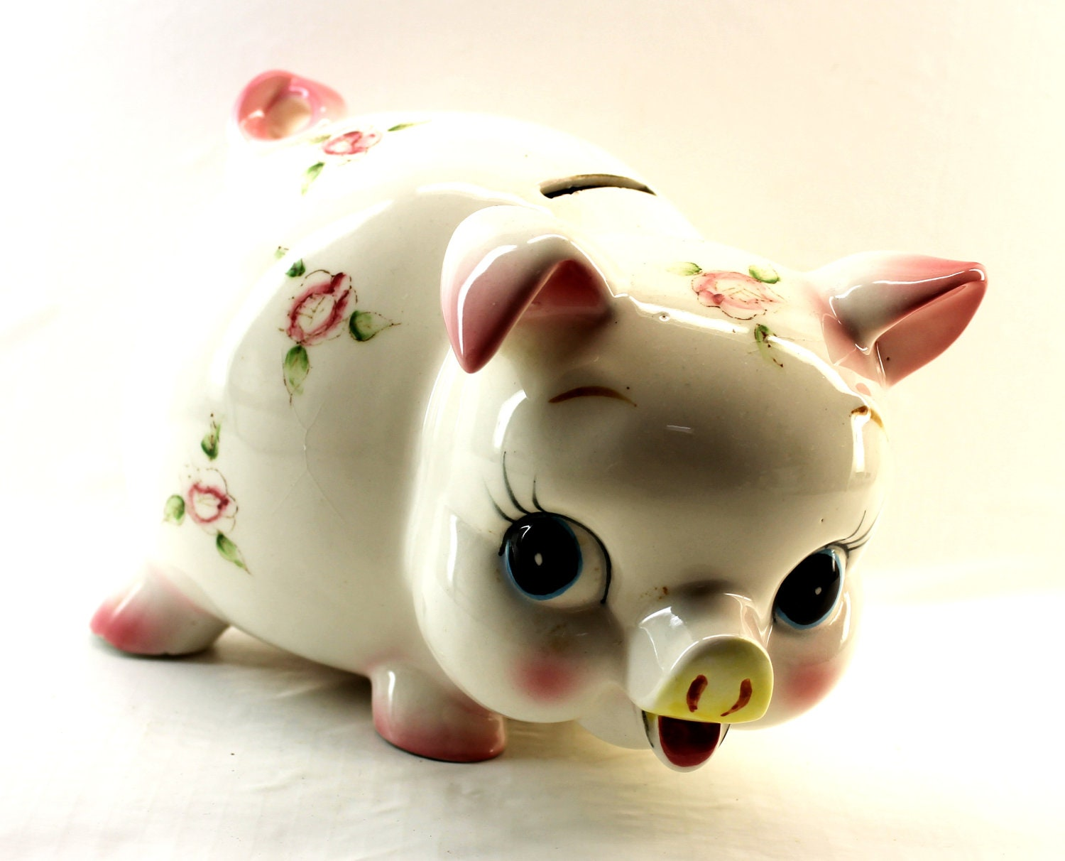 Floral ceramic piggy bank cute piggy bank for How to make a piggy bank you can t open