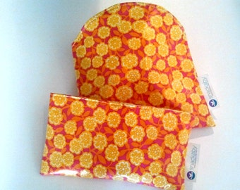 Yellow Flowers Snackaby dishwasher-safe reuseable sandwich and snack bag set