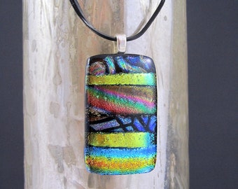 Dichroic Glass Pendant - Bright Gold and Lime Green Stripes on Black - Fused Glass Necklace