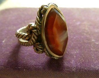 Barse Sterling Ring Marquise Cit Red Glass SZ 7