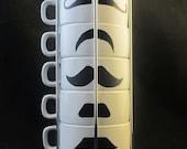 White Six Stackable Mustache Mug Set-Handpainted