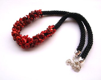 Bead crochet rope necklace with red coral gemstone beads -red statement necklaces -red  jewelry ,bib necklace, mom gift, beadwork