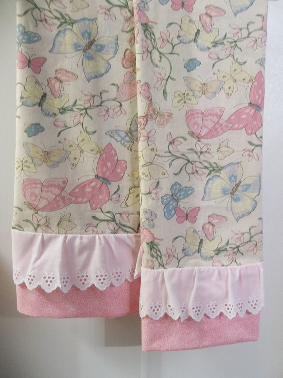 Shabby cottage nature chic BUTTERFLIES ex-size pillowcases set pillowcase ruffled vintage lace