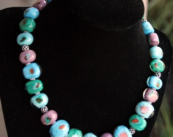 Handcrafted Fall Turquoise, Teal, Aqua, and Purple Lampworking Beaded Necklace Cool Colors