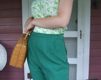 Bermuda Shorts Green Slub Weave Fabric Handmade