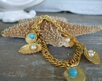 Seashell Bracelet Gold Pearls Turquoise 1970s Spain Beach Deadstock New Old Stock