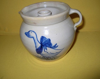 Old Casey Pottery Marshall Texas Mother Goose Hand Turned Pitcher Lidded Crock
