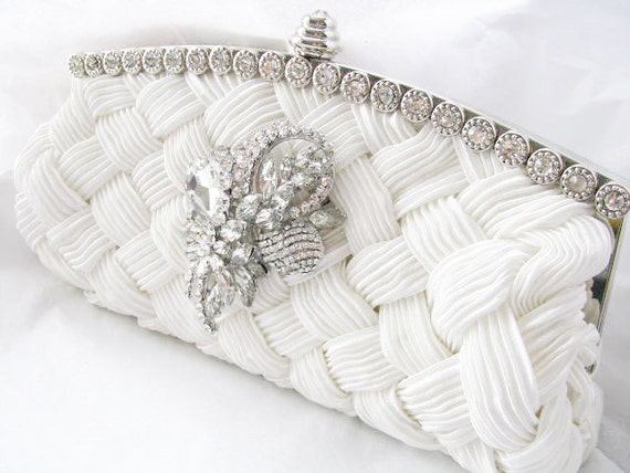 White Bridal Wedding Bag Clutch Formal Wear with Large  Rhinestone Brooch Bridal wedding clutch evening bag
