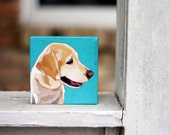 "Pet Portrait 4""x4"" Custom  Dog Painting from Photo"