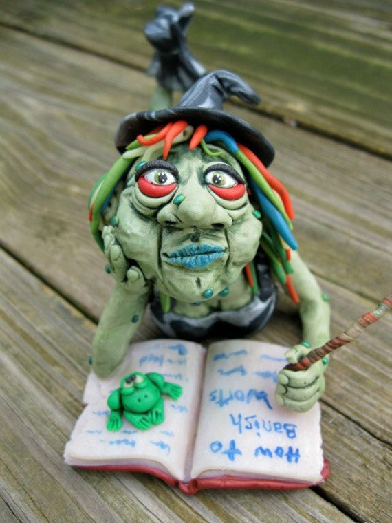 Witch Halloween Polymer Clay Sculpture