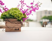 5.5'' Custom Square Wooden Box Planter with Burned Letters
