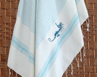 Super Sale %50 Off - HandWoven Eco-Friendly HERBAL SILK and BAMBOO Peshtemal Towel for Bath & Beach - Sea Horse with Embroidery